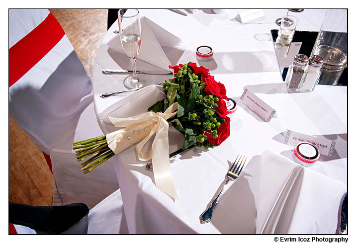 adrianna hill grand ballroom wedding chinese hypericum berries bouquet