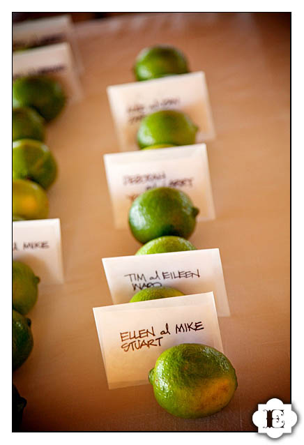 lime lemon wedding place card holder