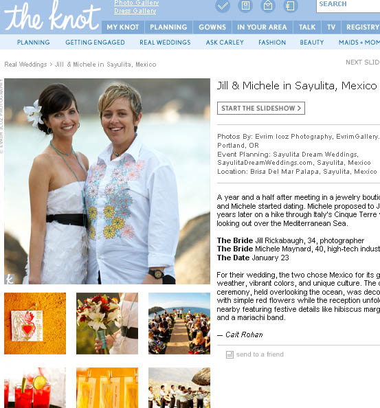 Featured gay wedding on the Knot magazine
